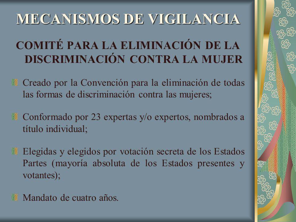 MECANISMOS DE VIGILANCIA COMITÉ PARA LA ELIMINACIÓN DE LA DISCRIMINACIÓN CONTRA LA MUJER Creado por la Convención para la eliminación de todas las for