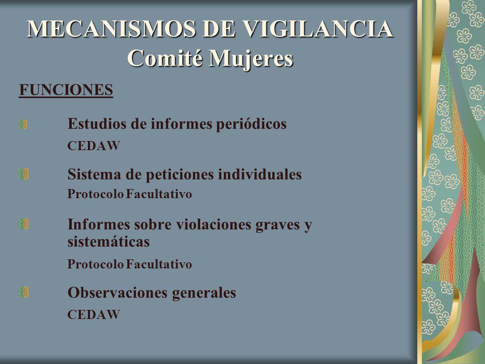 MECANISMOS DE VIGILANCIA Comité Mujeres FUNCIONES Estudios de informes periódicos CEDAW Sistema de peticiones individuales Protocolo Facultativo Infor