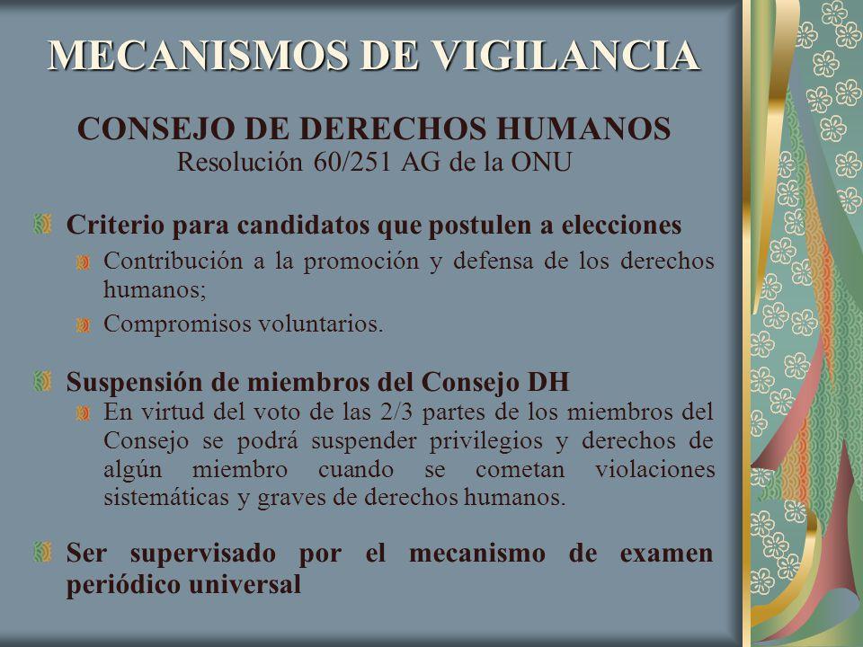MECANISMOS DE VIGILANCIA CONSEJO DE DERECHOS HUMANOS Resolución 60/251 AG de la ONU Criterio para candidatos que postulen a elecciones Contribución a