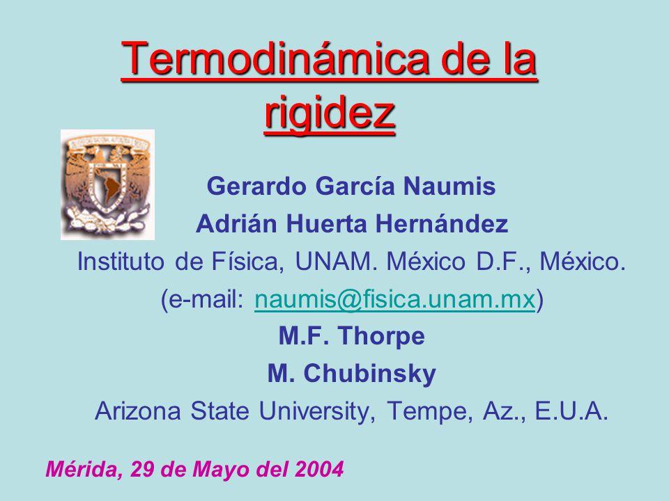 Termodinámica de la rigidez Gerardo García Naumis Adrián Huerta Hernández Instituto de Física, UNAM. México D.F., México. (e-mail: naumis@fisica.unam.