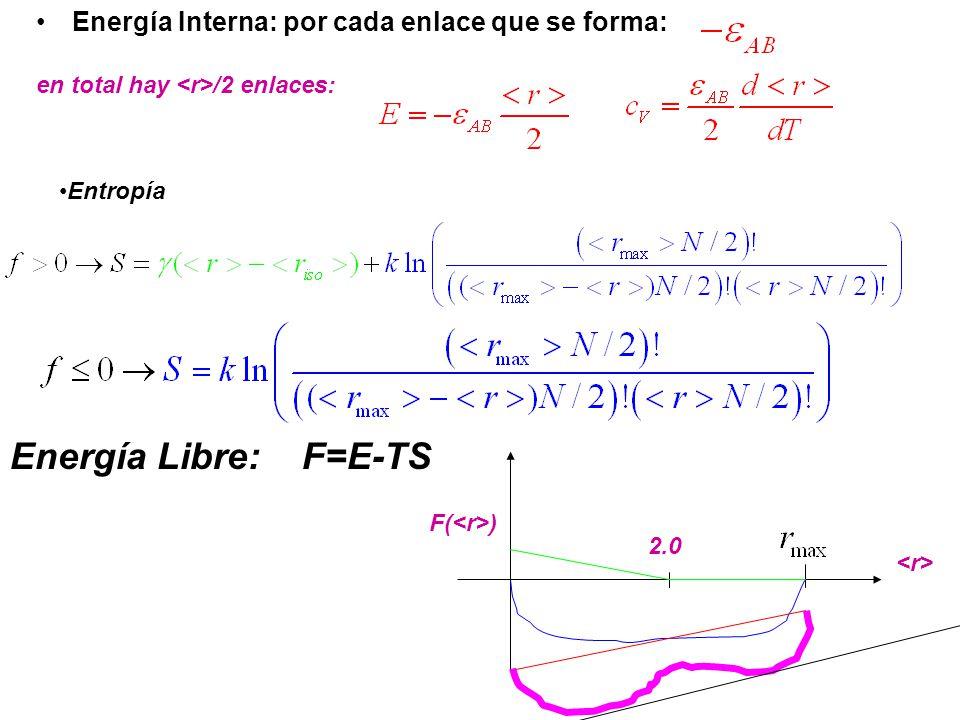 Energía Interna: por cada enlace que se forma: en total hay /2 enlaces: Entropía Energía Libre: F=E-TS F( ) 2.0