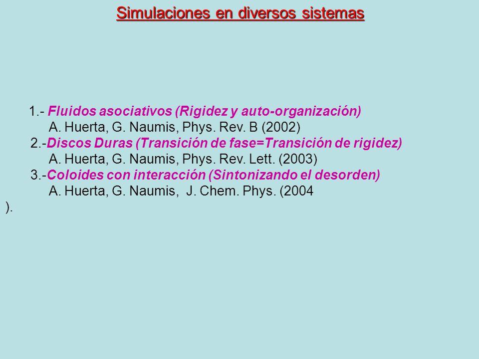 Simulaciones en diversos sistemas 1.- Fluidos asociativos (Rigidez y auto-organización) A. Huerta, G. Naumis, Phys. Rev. B (2002) 2.-Discos Duras (Tra