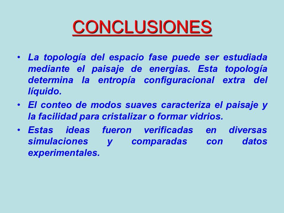 CONCLUSIONES La topología del espacio fase puede ser estudiada mediante el paisaje de energias. Esta topología determina la entropía configuracional e