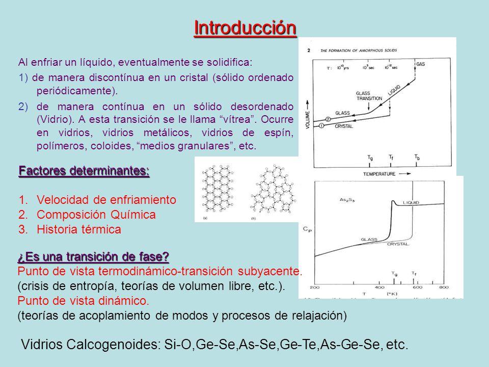 Introducción Al enfriar un líquido, eventualmente se solidifica: 1) de manera discontínua en un cristal (sólido ordenado periódicamente). 2) de manera