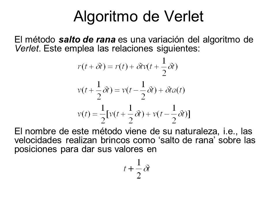 Algoritmo de Verlet El método salto de rana es una variación del algoritmo de Verlet.
