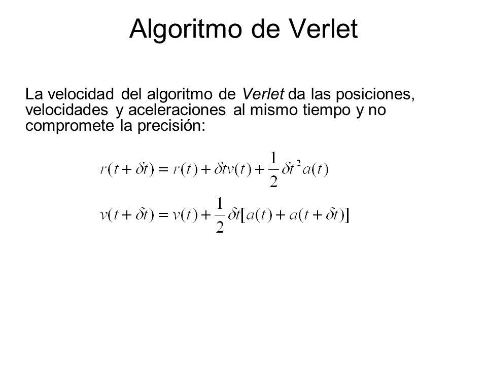 Algoritmo de Verlet La velocidad del algoritmo de Verlet da las posiciones, velocidades y aceleraciones al mismo tiempo y no compromete la precisión: