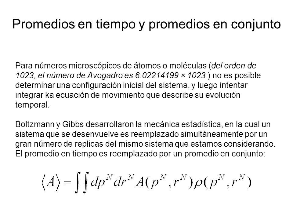 Para números microscópicos de átomos o moléculas (del orden de 1023, el número de Avogadro es 6.02214199 × 1023 ) no es posible determinar una configuración inicial del sistema, y luego intentar integrar ka ecuación de movimiento que describe su evolución temporal.