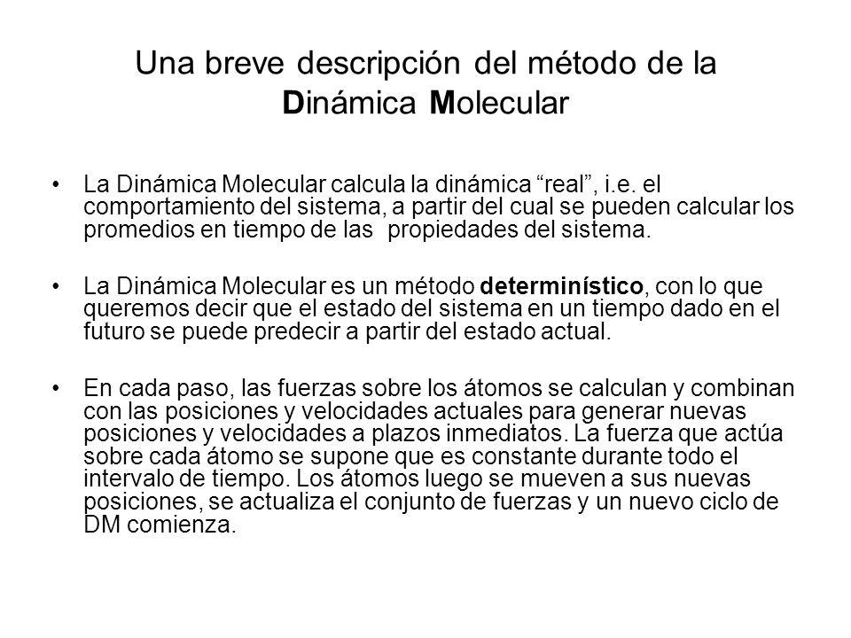 La Dinámica Molecular calcula la dinámica real, i.e.
