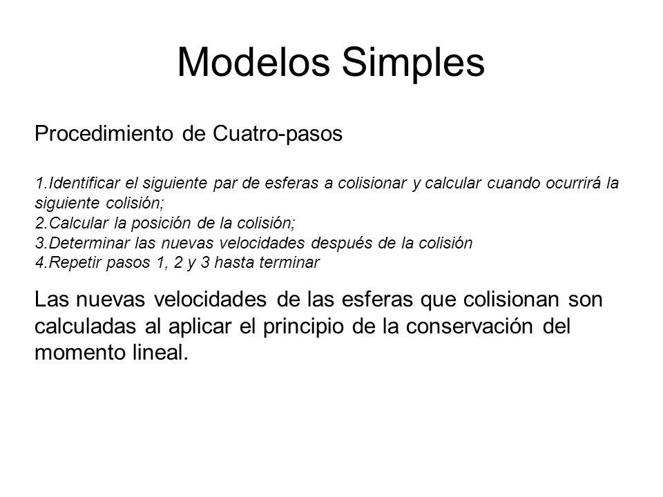 Modelos Simples Procedimiento de Cuatro-pasos 1.Identificar el siguiente par de esferas a colisionar y calcular cuando ocurrirá la siguiente colisión; 2.Calcular la posición de la colisión; 3.Determinar las nuevas velocidades después de la colisión 4.Repetir pasos 1, 2 y 3 hasta terminar Las nuevas velocidades de las esferas que colisionan son calculadas al aplicar el principio de la conservación del momento lineal.