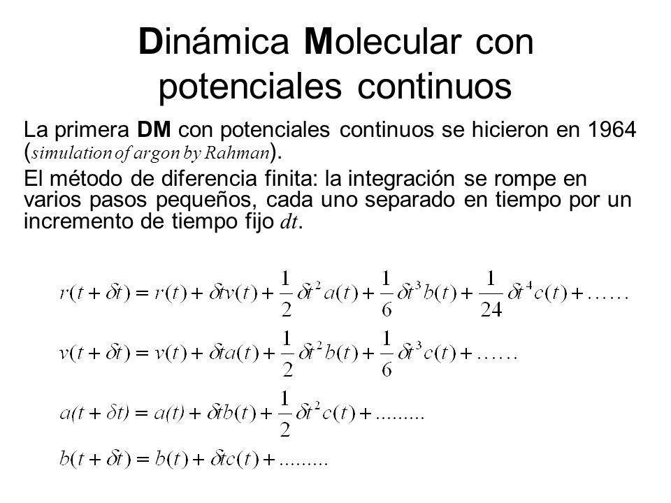 Dinámica Molecular con potenciales continuos La primera DM con potenciales continuos se hicieron en 1964 ( simulation of argon by Rahman ).
