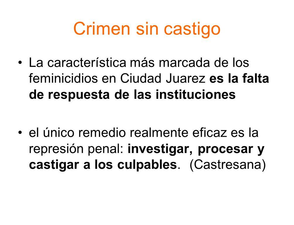 Crimen sin castigo La característica más marcada de los feminicidios en Ciudad Juarez es la falta de respuesta de las instituciones el único remedio realmente eficaz es la represión penal: investigar, procesar y castigar a los culpables.