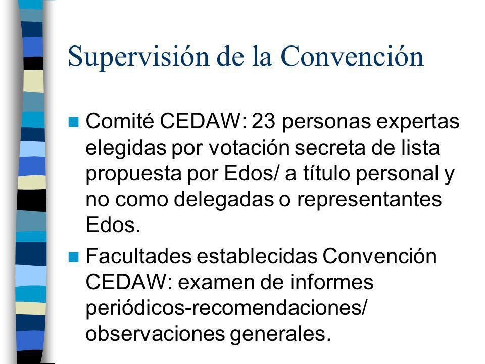 Supervisión de la Convención Comité CEDAW: 23 personas expertas elegidas por votación secreta de lista propuesta por Edos/ a título personal y no como