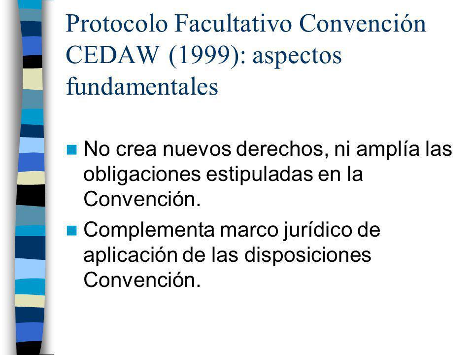 Protocolo Facultativo Convención CEDAW (1999): aspectos fundamentales No crea nuevos derechos, ni amplía las obligaciones estipuladas en la Convención