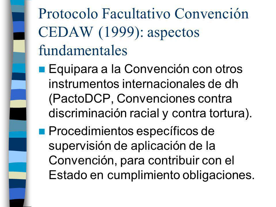 Protocolo Facultativo Convención CEDAW (1999): aspectos fundamentales Equipara a la Convención con otros instrumentos internacionales de dh (PactoDCP,