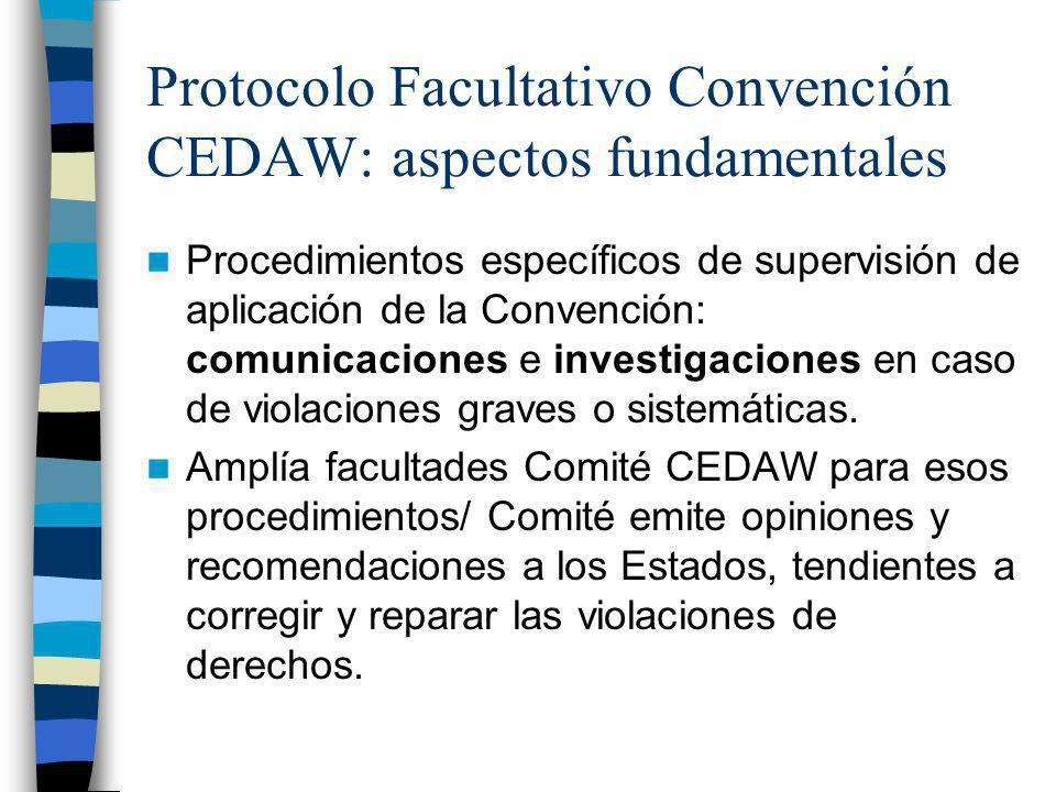 Protocolo Facultativo Convención CEDAW: aspectos fundamentales Procedimientos específicos de supervisión de aplicación de la Convención: comunicacione