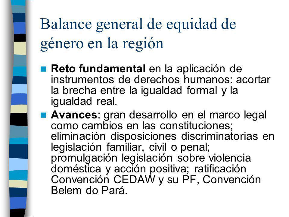 Balance general de equidad de género en la región Reto fundamental en la aplicación de instrumentos de derechos humanos: acortar la brecha entre la ig