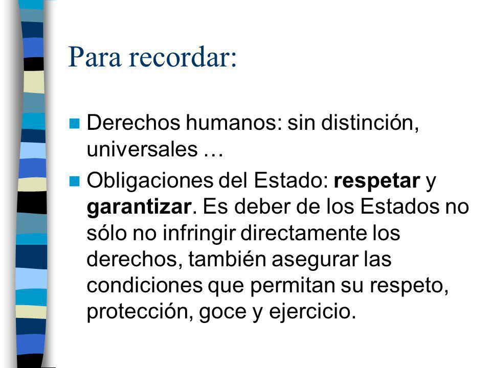 Para recordar: Derechos humanos: sin distinción, universales … Obligaciones del Estado: respetar y garantizar. Es deber de los Estados no sólo no infr
