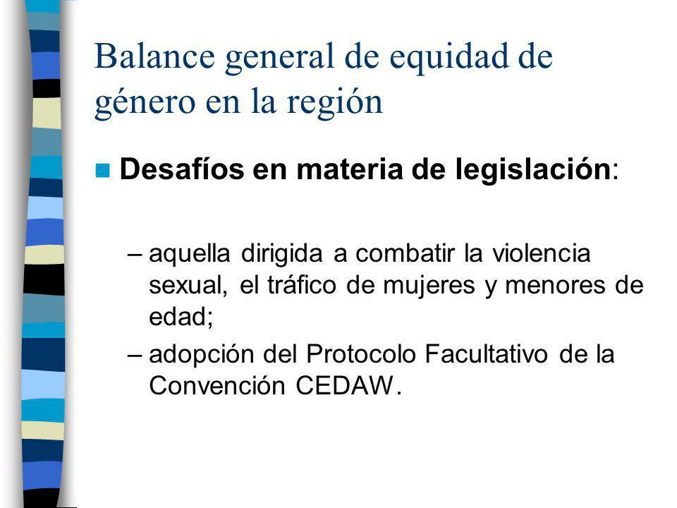 Balance general de equidad de género en la región Desafíos en materia de legislación: –aquella dirigida a combatir la violencia sexual, el tráfico de