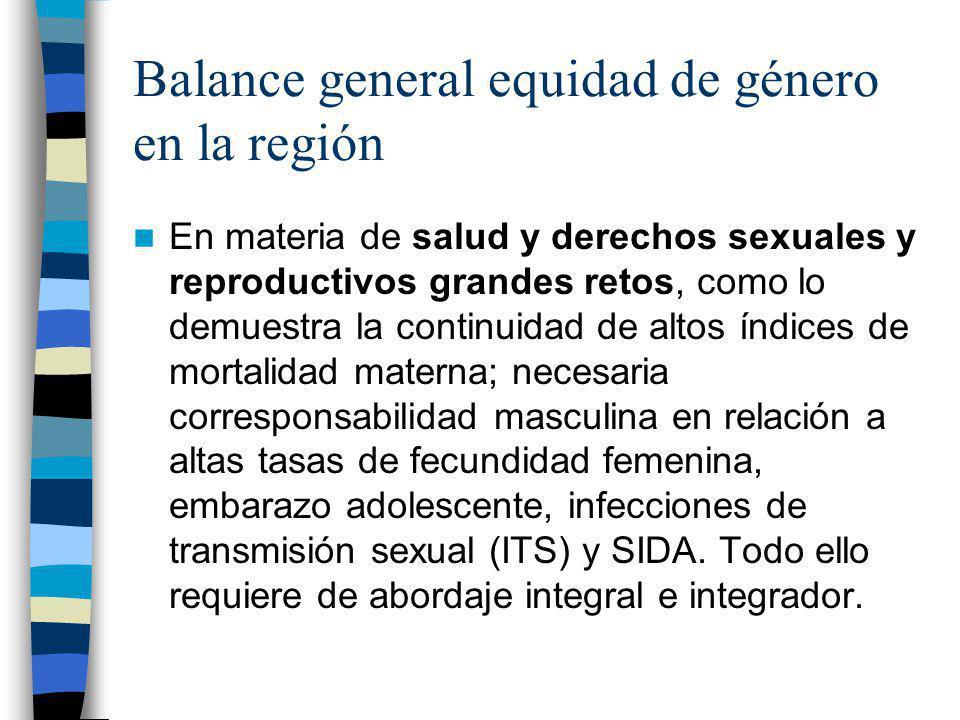 Balance general equidad de género en la región En materia de salud y derechos sexuales y reproductivos grandes retos, como lo demuestra la continuidad