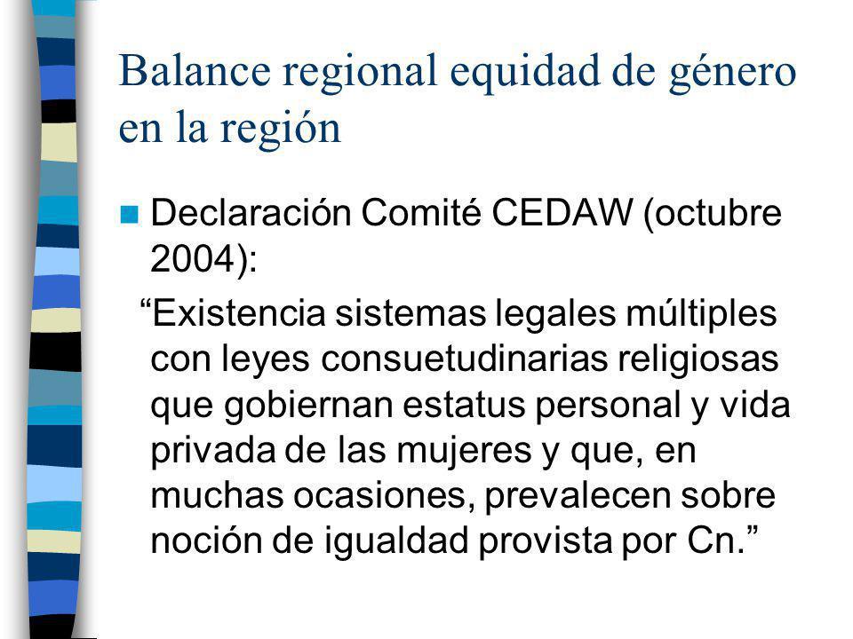 Balance regional equidad de género en la región Declaración Comité CEDAW (octubre 2004): Existencia sistemas legales múltiples con leyes consuetudinar
