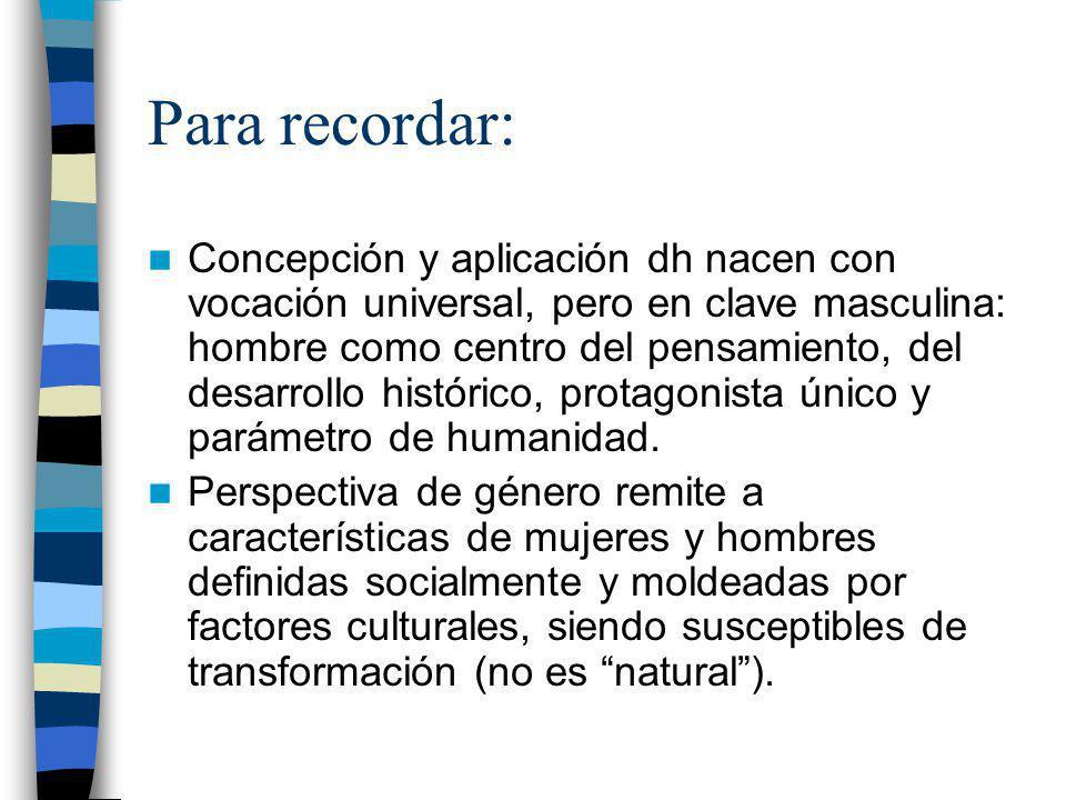 Para recordar: Concepción y aplicación dh nacen con vocación universal, pero en clave masculina: hombre como centro del pensamiento, del desarrollo hi