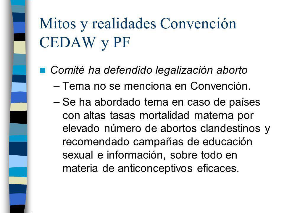Mitos y realidades Convención CEDAW y PF Comité ha defendido legalización aborto –Tema no se menciona en Convención. –Se ha abordado tema en caso de p