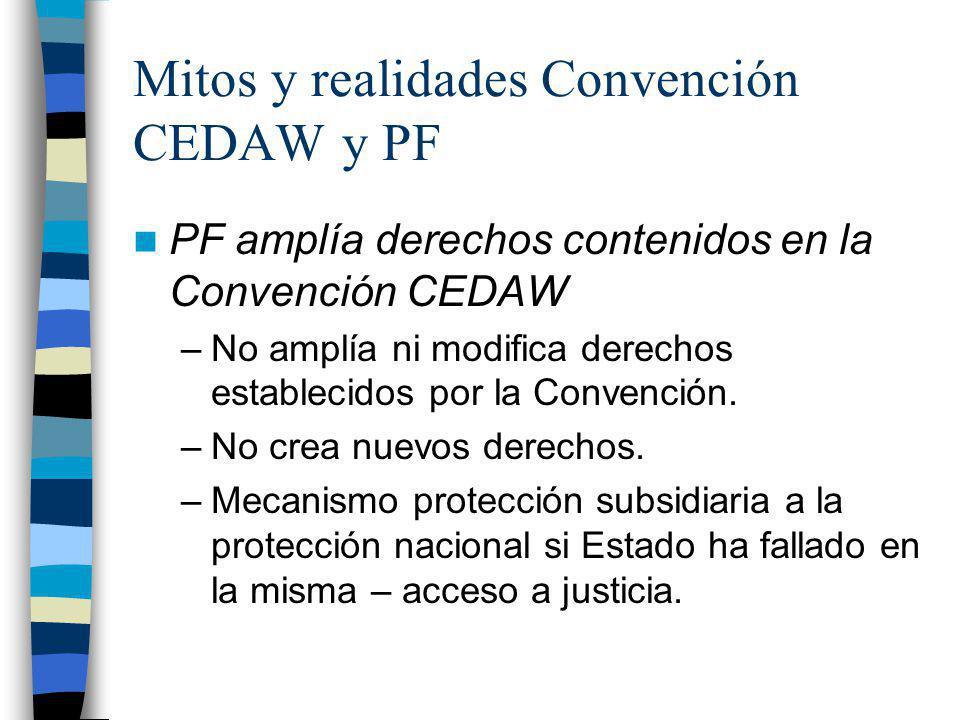 Mitos y realidades Convención CEDAW y PF PF amplía derechos contenidos en la Convención CEDAW –No amplía ni modifica derechos establecidos por la Conv