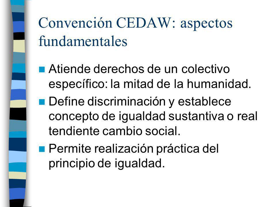 Convención CEDAW: aspectos fundamentales Atiende derechos de un colectivo específico: la mitad de la humanidad. Define discriminación y establece conc