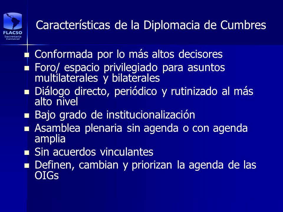 Características de la Diplomacia de Cumbres Conformada por lo más altos decisores Foro/ espacio privilegiado para asuntos multilaterales y bilaterales
