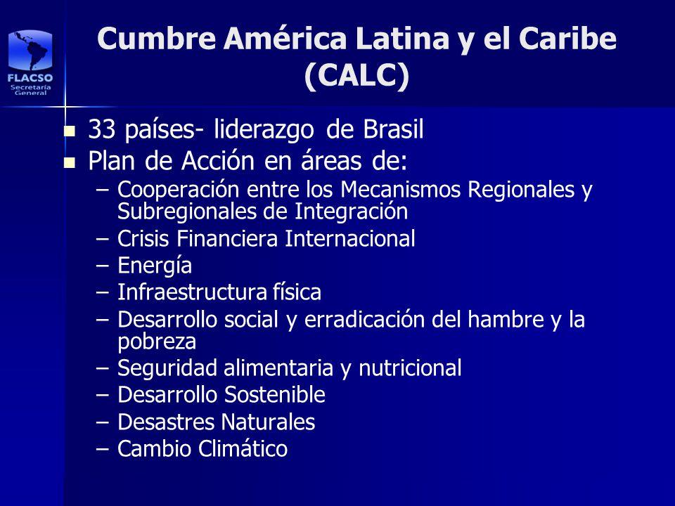 Cumbre América Latina y el Caribe (CALC) 33 países- liderazgo de Brasil Plan de Acción en áreas de: – –Cooperación entre los Mecanismos Regionales y S