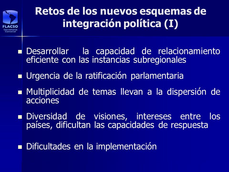 Retos de los nuevos esquemas de integración política (I) Desarrollar la capacidad de relacionamiento eficiente con las instancias subregionales Urgenc