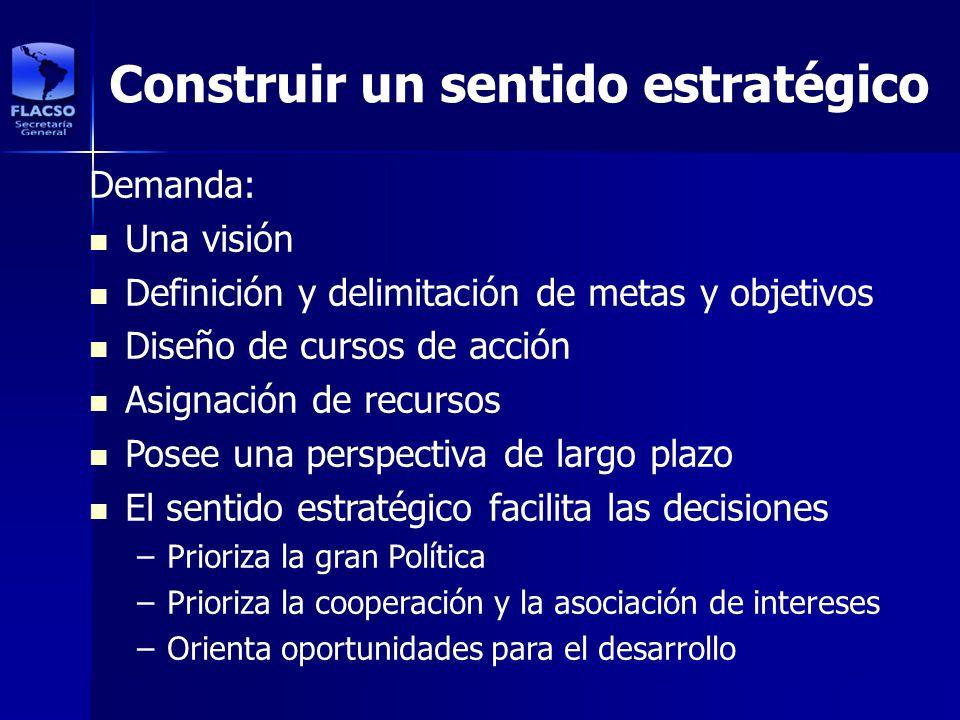 Construir un sentido estratégico Demanda: Una visión Definición y delimitación de metas y objetivos Diseño de cursos de acción Asignación de recursos