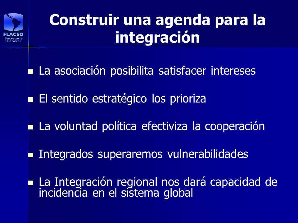 Construir una agenda para la integración La asociación posibilita satisfacer intereses El sentido estratégico los prioriza La voluntad política efecti