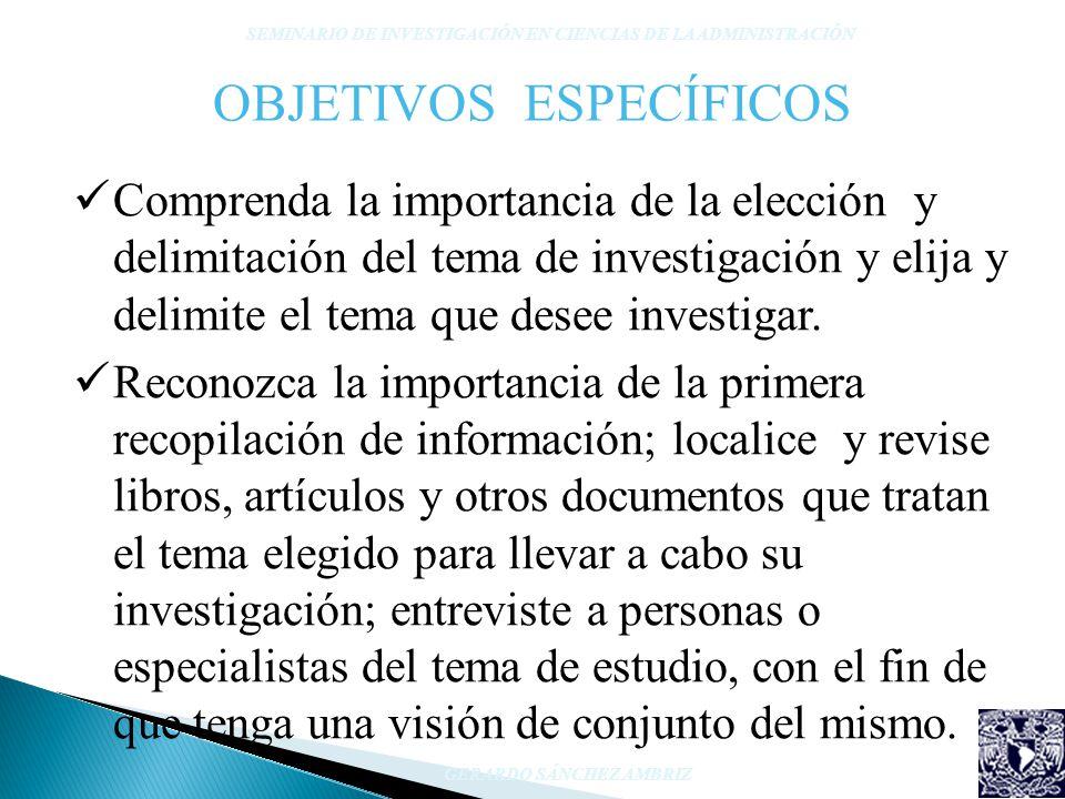 OBJETIVOS ESPECÍFICOS Comprenda la importancia de la elección y delimitación del tema de investigación y elija y delimite el tema que desee investigar