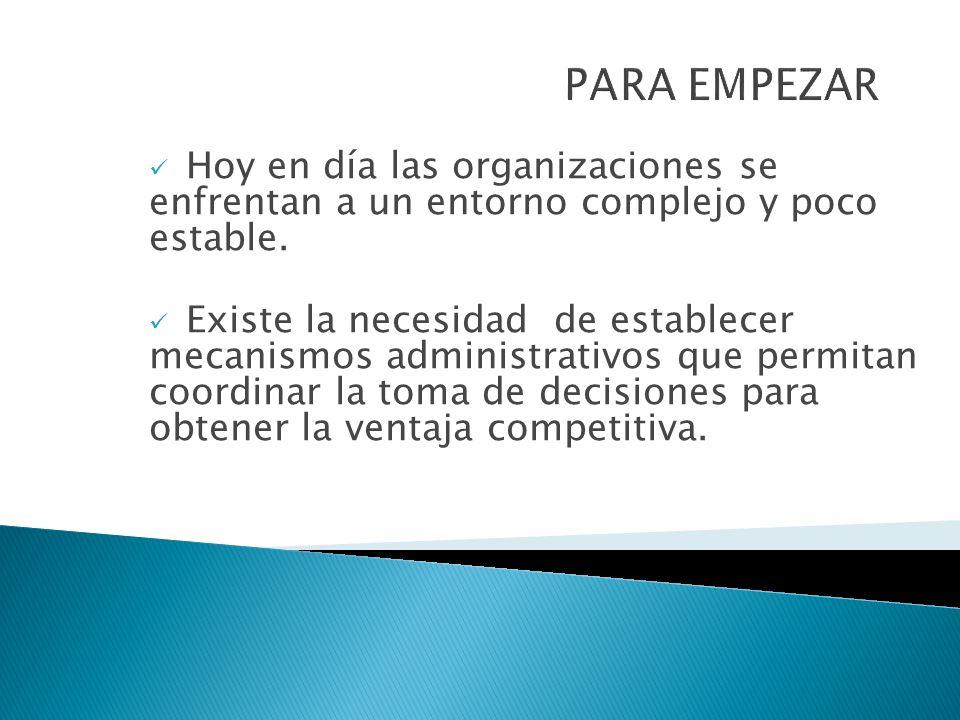 Hoy en día las organizaciones se enfrentan a un entorno complejo y poco estable. Existe la necesidad de establecer mecanismos administrativos que perm