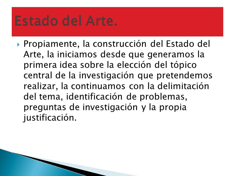 Propiamente, la construcción del Estado del Arte, la iniciamos desde que generamos la primera idea sobre la elección del tópico central de la investig