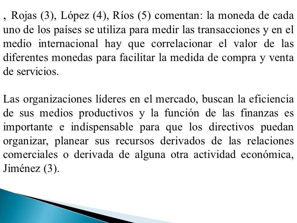 , Rojas (3), López (4), Ríos (5) comentan: la moneda de cada uno de los países se utiliza para medir las transacciones y en el medio internacional hay