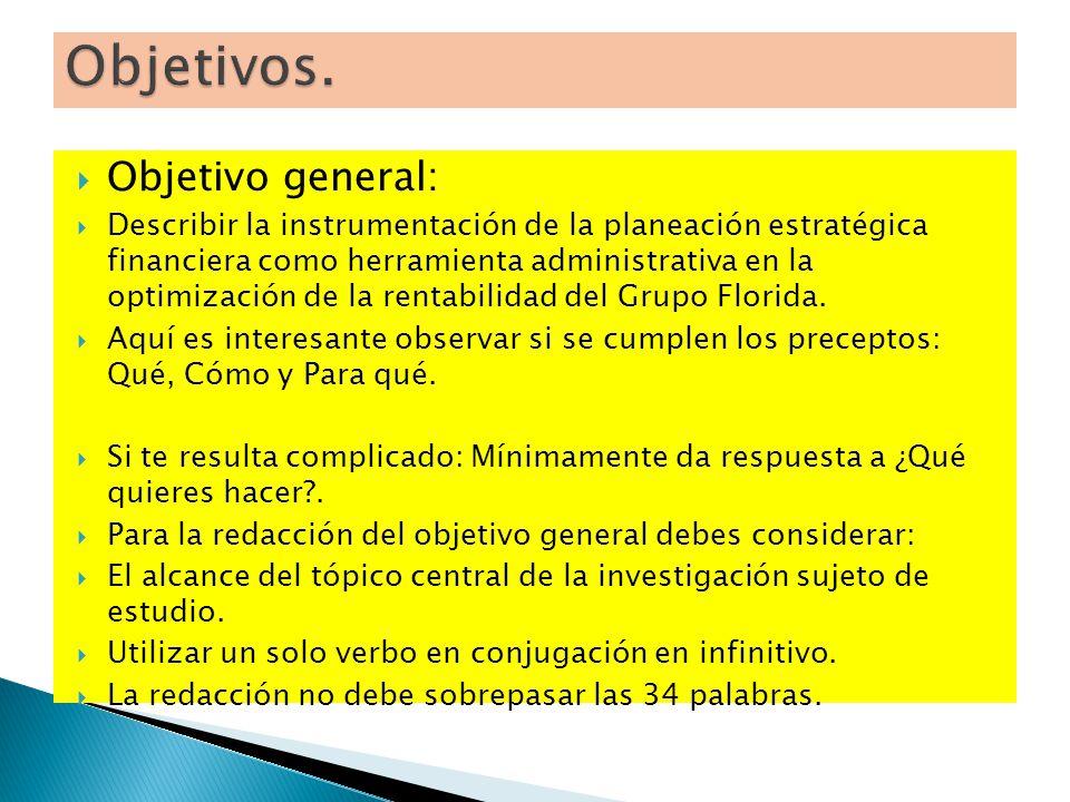 Objetivo general: Describir la instrumentación de la planeación estratégica financiera como herramienta administrativa en la optimización de la rentab
