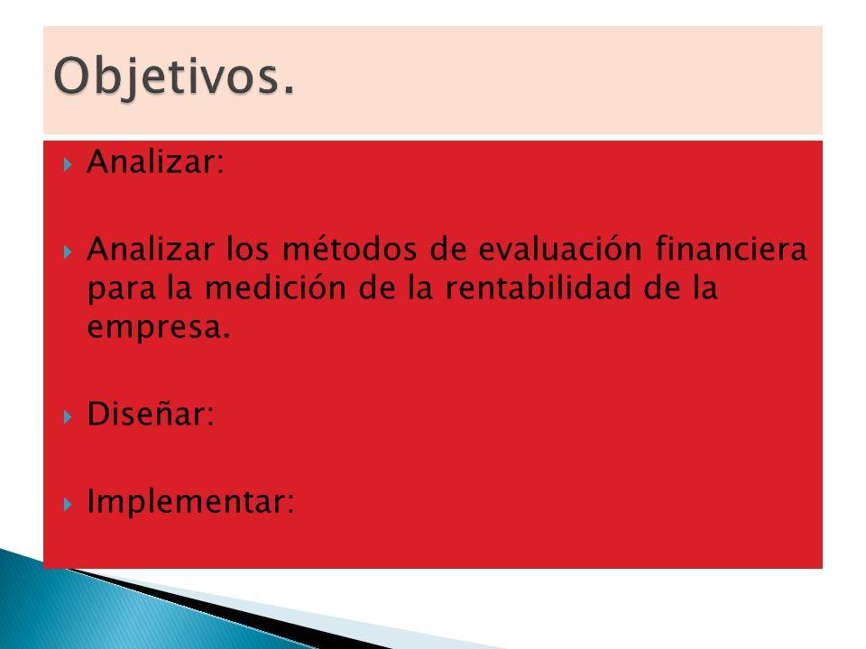 Analizar: Analizar los métodos de evaluación financiera para la medición de la rentabilidad de la empresa. Diseñar: Implementar: