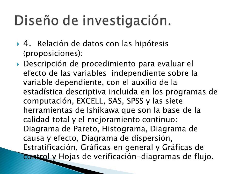 4. Relación de datos con las hipótesis (proposiciones): Descripción de procedimiento para evaluar el efecto de las variables independiente sobre la va