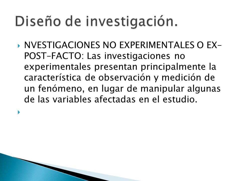 NVESTIGACIONES NO EXPERIMENTALES O EX– POST–FACTO: Las investigaciones no experimentales presentan principalmente la característica de observación y m