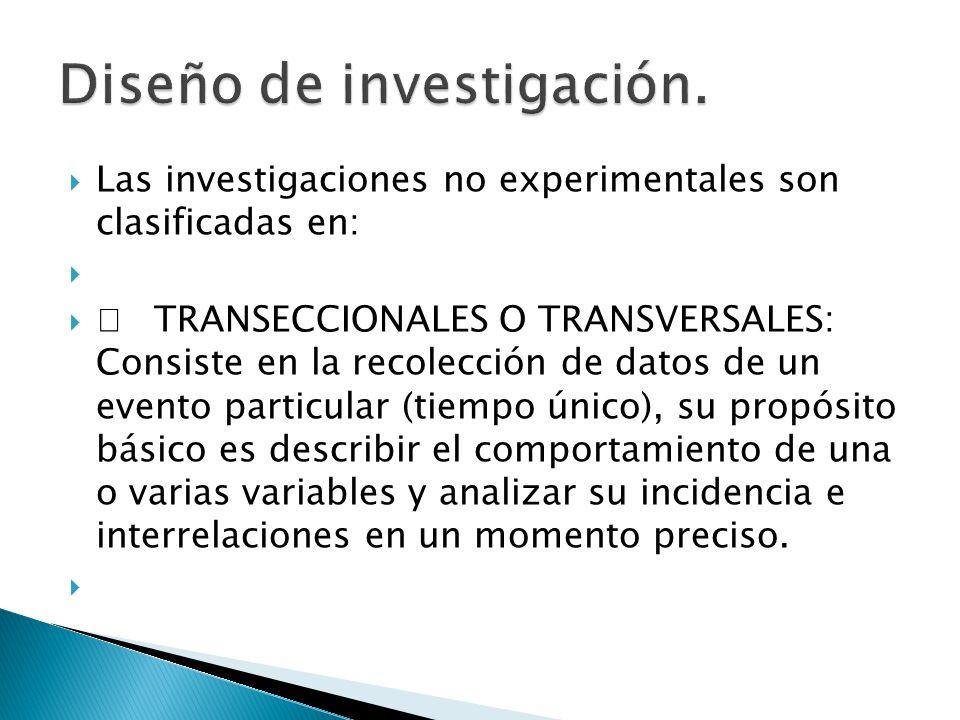 Las investigaciones no experimentales son clasificadas en: TRANSECCIONALES O TRANSVERSALES: Consiste en la recolección de datos de un evento particula