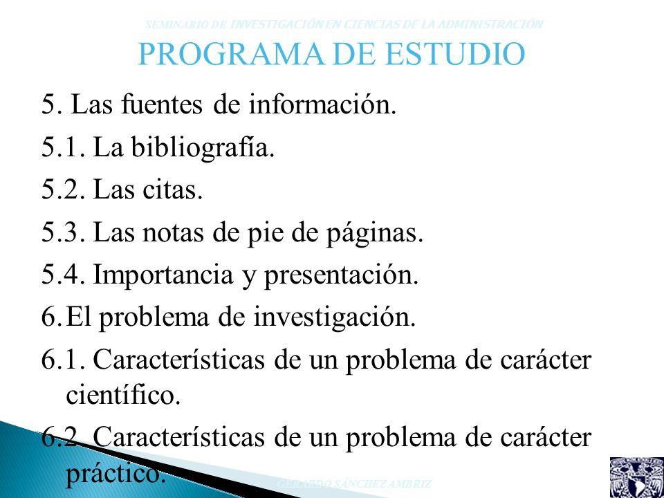 PROGRAMA DE ESTUDIO 5. Las fuentes de información. 5.1. La bibliografía. 5.2. Las citas. 5.3. Las notas de pie de páginas. 5.4. Importancia y presenta