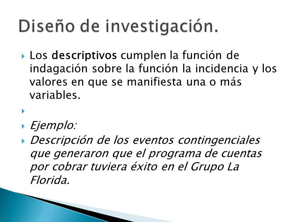 Los descriptivos cumplen la función de indagación sobre la función la incidencia y los valores en que se manifiesta una o más variables. Ejemplo: Desc