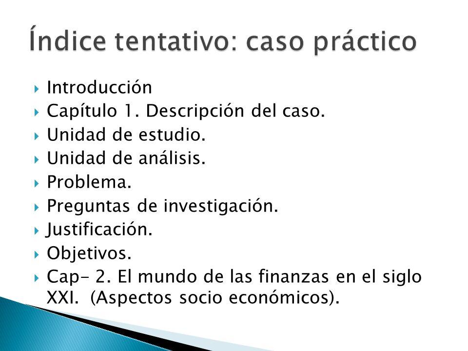 Introducción Capítulo 1. Descripción del caso. Unidad de estudio. Unidad de análisis. Problema. Preguntas de investigación. Justificación. Objetivos.