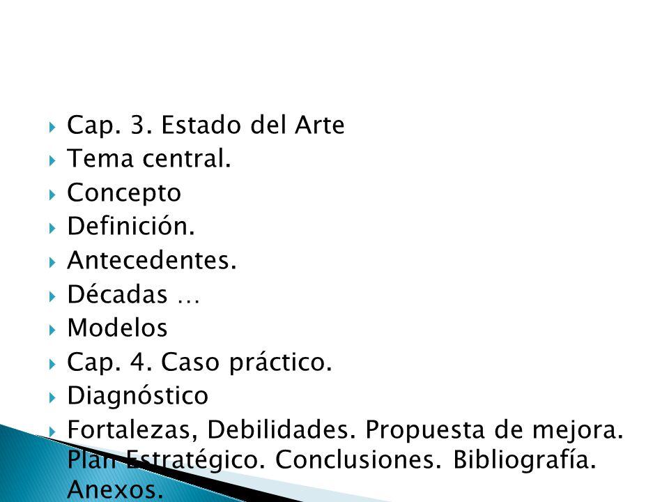 Cap. 3. Estado del Arte Tema central. Concepto Definición. Antecedentes. Décadas … Modelos Cap. 4. Caso práctico. Diagnóstico Fortalezas, Debilidades.