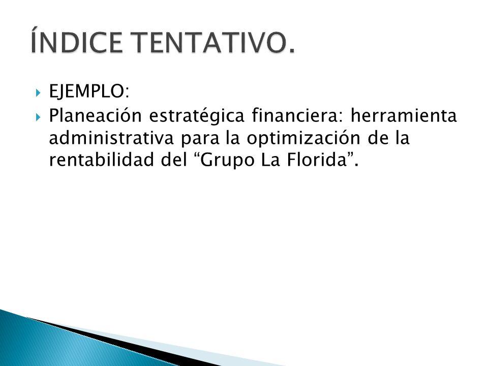EJEMPLO: Planeación estratégica financiera: herramienta administrativa para la optimización de la rentabilidad del Grupo La Florida.