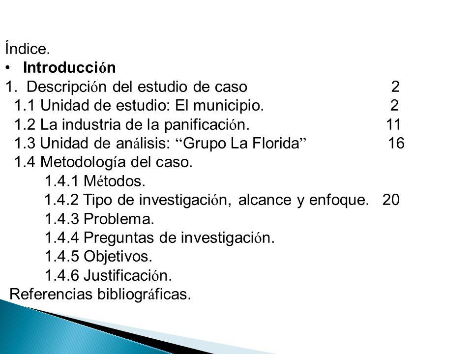Índice. Introducci ó n 1. Descripci ó n del estudio de caso 2 1.1 Unidad de estudio: El municipio. 2 1.2 La industria de la panificaci ó n. 11 1.3 Uni