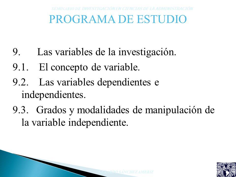 PROGRAMA DE ESTUDIO 9. Las variables de la investigación. 9.1. El concepto de variable. 9.2. Las variables dependientes e independientes. 9.3. Grados