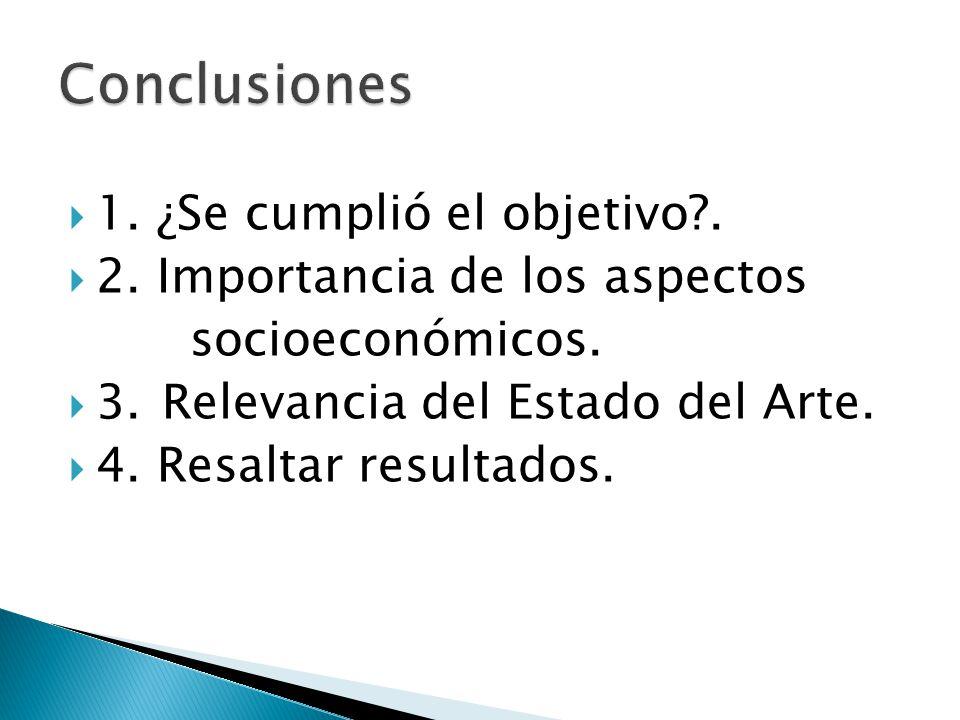 1. ¿Se cumplió el objetivo?. 2. Importancia de los aspectos socioeconómicos. 3. Relevancia del Estado del Arte. 4. Resaltar resultados.